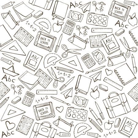 fournitures scolaires: Retour au pattern de l'école avec des fournitures scolaires dessinés à la main, des livres et de la papeterie