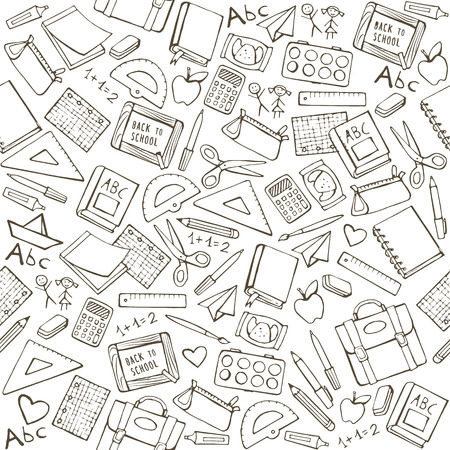 Back to school seamless pattern with hand drawn school supplies, books and stationery Vettoriali