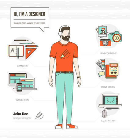skill: Professional graphic designer, photographer and illustrator infographic skills resume with tools and icons