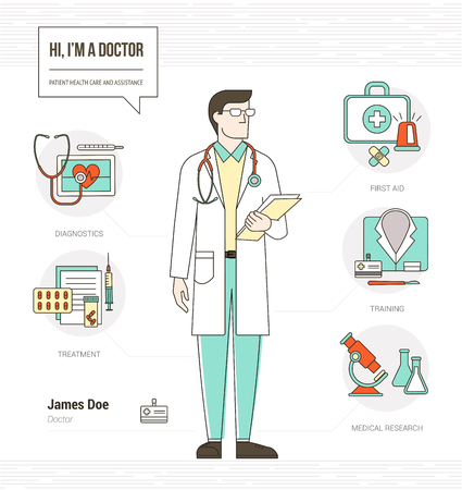 diagnosis: Professional doctor infographic skills resume with tools, medical equipment and icons set