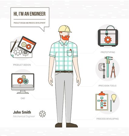 prototyping: Professional mechanical engineer infographic skills resume with tools, equipment and icons set Illustration