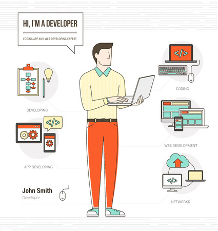 developer: Professional developer and programmer infographic skills resume with tools, equipment and icons