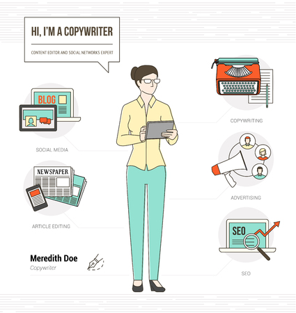 copywriter: Professional copywriter infographic skills resume with icons and tools