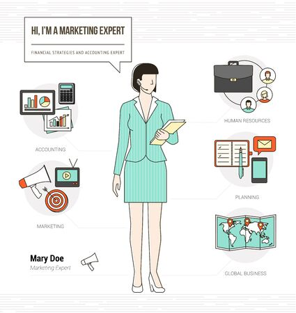 promoter: Professional marketing expert infographic skills resume with work tools, equipment and icons Illustration