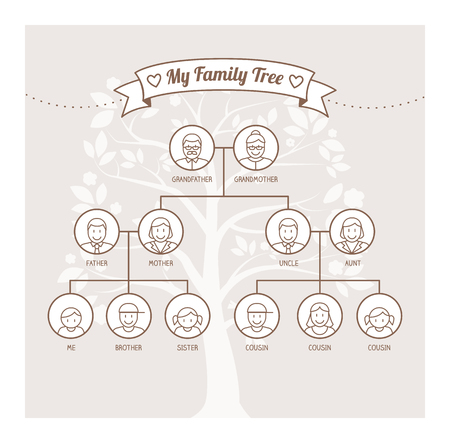 kinship: Vintage family tree with members avatars, genealogy and kinship concept