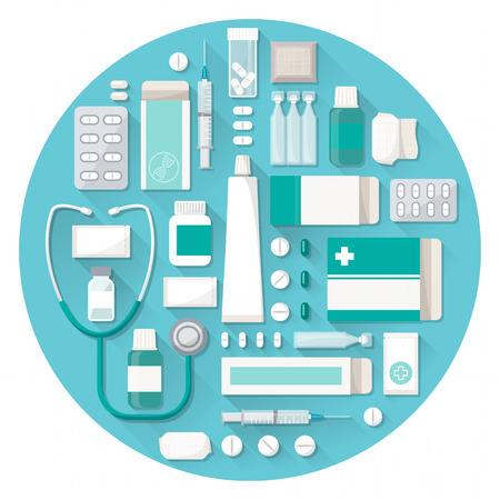 overdose: Pharmacy and medical treatment concept with pills, tablets, blisters and stethoscope in a circular shape Illustration