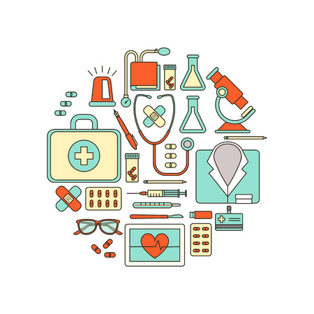 equipment: Doctor and healthcare medical equipment, thin line objects in a circular shape on white background Illustration