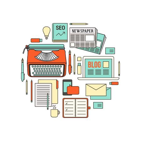 Copywriter, blogger y periodista herramientas de trabajo, línea fina objetos en forma circular sobre fondo blanco Vectores