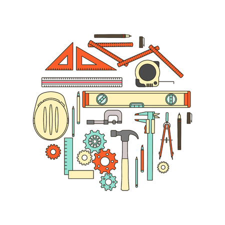 contractor: Engineer work tools and equipment, thin line objects in a circular shape on white background