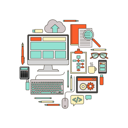 it: IT, web and software developing tools vector thin line objects in a circular shape on white background