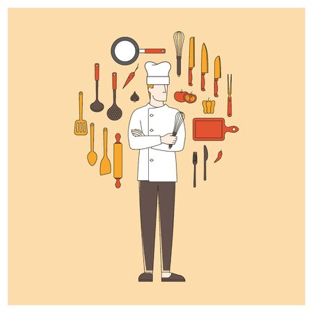 pastry chef: Chef arms crossed with kitchen utensils, thin line objects in a circle