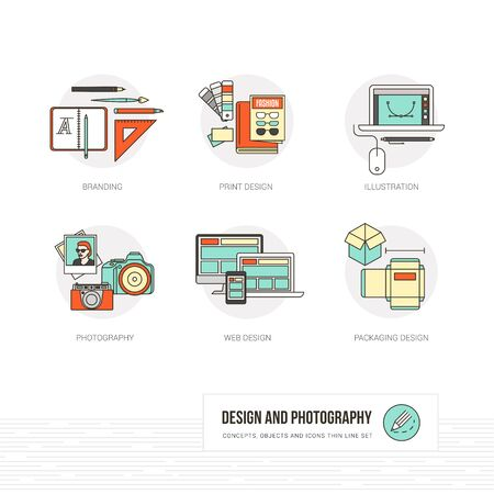 graphic icon: Photography, illustration, graphic and web design concepts, thin line icons and objects set