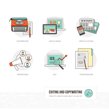 copywriting: Editing, copywriting and journalism concepts, thin line icons and objects set
