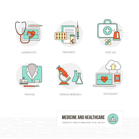 medical computer: Medicine, healthcare and doctors concepts, thin line objects and icons set Illustration