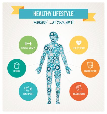 Infografía de concepto de cuerpo y estilo de vida saludable con cuerpo humano compuesto de engranajes y conjunto de iconos de vida saludable