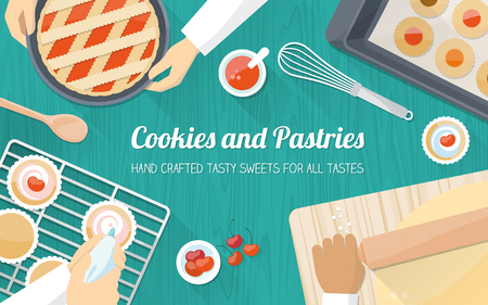 Personas de los cocineros que trabajan juntos y pasteles de cocina, con las manos en el trabajo de cerca