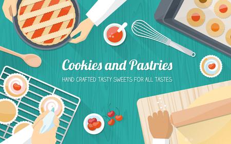 stravování: Tým kuchařů pracují společně a vaření pečivo, ruce na práci zblízka