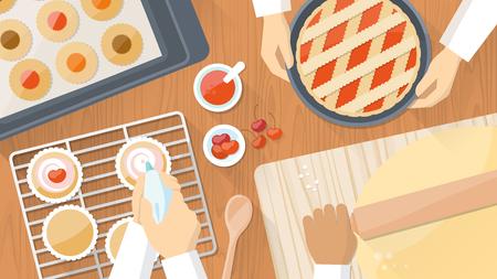 Team van koks samen te werken en koken gebak, handen op het werk Close-up