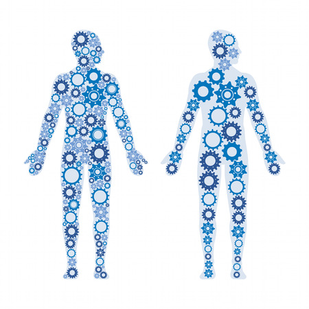 Human male bodies composed of gears, healthy lifestyle and anatomy concept Vettoriali