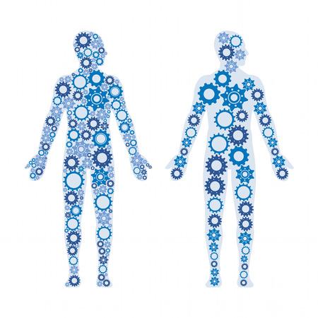 cuerpos masculinos humanos compuesto por engranajes, estilo de vida saludable y el concepto de la anatomía Ilustración de vector