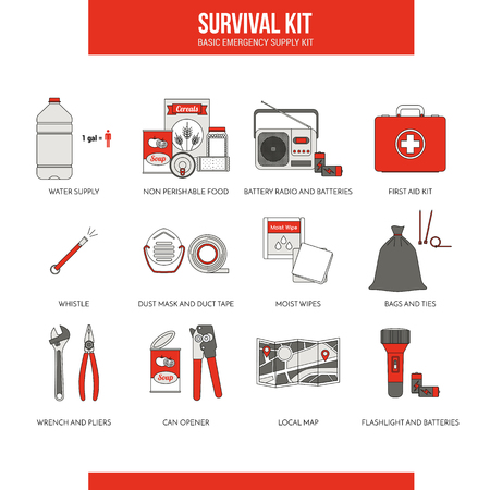 disaster preparedness: Survival kit for emergency evacuation, Sept. vector objects on white background Illustration