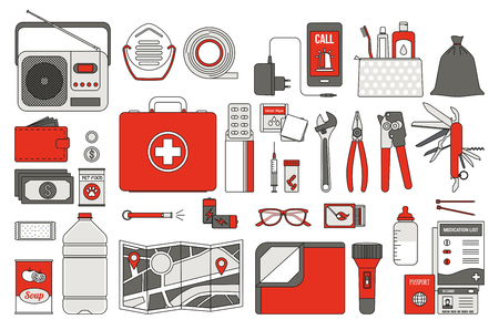 evacuacion: Equipo de emergencia de supervivencia para la evacuación, vector objetos fijó en el fondo blanco
