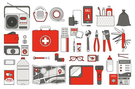Kit di sopravvivenza di emergenza per l'evacuazione, oggetti vettoriali set su sfondo bianco
