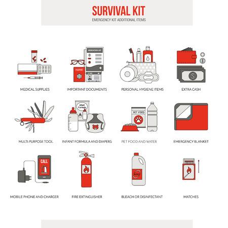 Survival emergency kit for evacuation, vector objects set on white background Illustration