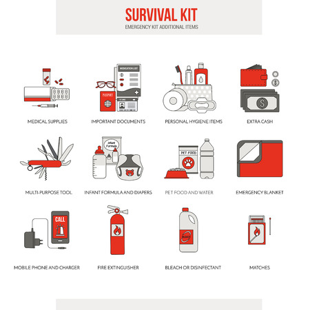 disaster preparedness: Survival emergency kit for evacuation, vector objects set on white background Illustration