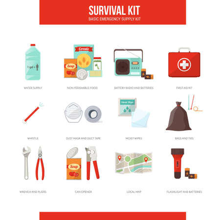disaster: Survival emergency kit for evacuation, vector objects set on white background Illustration