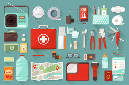 first aid kit: Kit de Supervivencia para la evacuaci�n de emergencia, los objetos vectoriales de septiembre en el fondo blanco Vectores