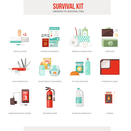aid: Survival emergency kit for evacuation, vector objects set on white background Illustration