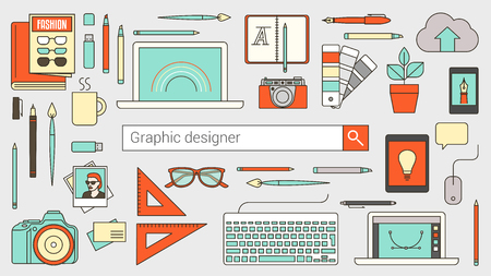 search bar: Graphic designer, illustrator and photographer banner with search bar and thin line tools and objects on a desktop