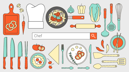 chefs: Chef, restaurant and cooking banner with search bar, thin line objects and tools set