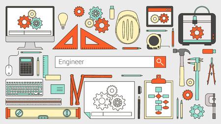 ingeniero: Bandera ingeniero mecánico con barra de búsqueda, los objetos de líneas finas y las herramientas de trabajo en un escritorio