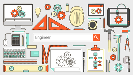 engineers: Mechanical engineer banner with search bar, thin line objects and work tools on a desktop