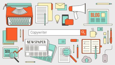 Tekstschrijver, journalist en blogger banner met zoekbalk, dunne lijn objecten en werk tools op een desktop Stock Illustratie