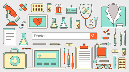 professional equipment: Professional doctor and healthcare banner with search bar, thin line objects and medical equipment on a desktop Illustration
