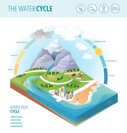 De watercyclus diagram dat neerslag, inzameling, verdamping en condensatie van water op een gedeelte landschap, pictogrammen instellen