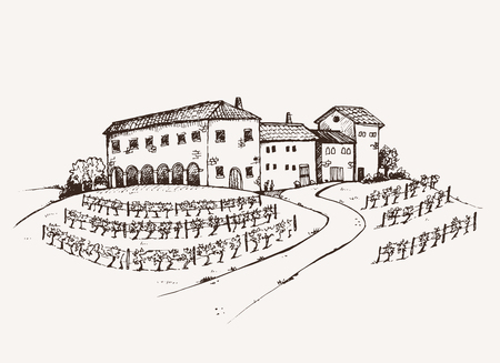 italian landscape: Vineyard estate hand drawn sketch, old italian traditional estate with large vineyard