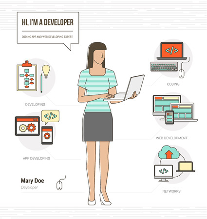 business services: Professional developer and programmer infographic skills resume with tools, equipment and icons
