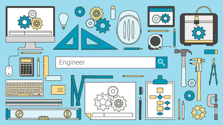 mechanical engineer: Mechanical engineer banner with search bar, thin line objects and work tools on a desktop