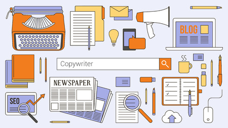 contents: Copywriter, journalist and blogger banner with search bar, thin line objects and work tools on a desktop