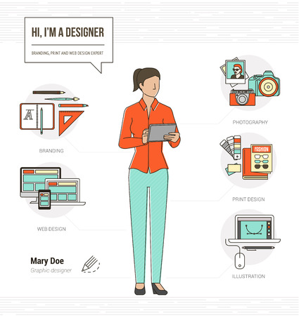 web services: Professional graphic designer, photographer and illustrator infographic skills resume with tools and icons