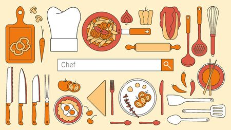 search bar: Chef, restaurant and cooking banner with search bar, thin line objects and tools set