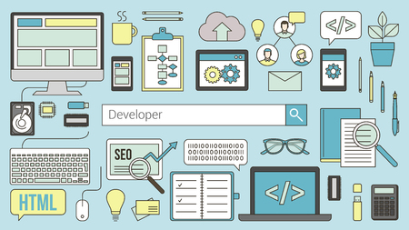 line work: Web and software developer banner with seacrh bar and thin line objects and work tools on a desk Illustration
