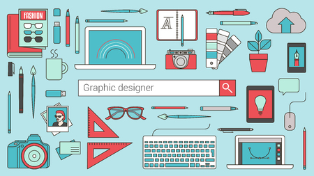 desktops: Graphic designer, illustrator and photographer banner with search bar and thin line tools and objects on a desktop