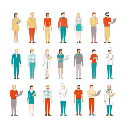 白の背景、ビジネス人々、労働者の細い線男性と女性キャラクター