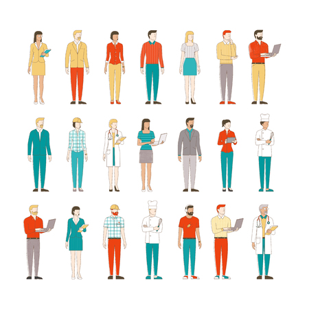 Thin line male and female characters on white background, business people and workers Ilustração