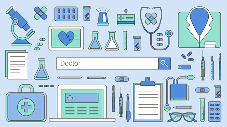 search bar: Professional doctor and healthcare banner with search bar, thin line objects and medical equipment on a desktop Illustration